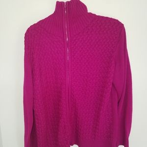 Pink zipup textured sweater size L